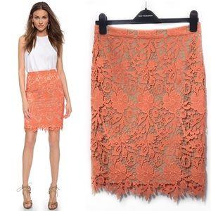Alice Olivia 8 Orange Lace Pencil Skirt Farrel